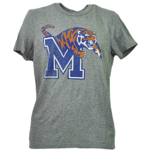 NCAA Memphis Tigers Distressed Gray Adult Mens Tshirt Tee Short Sleeve Sports