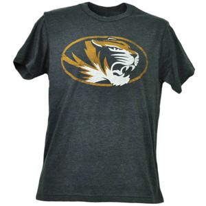 NCAA Missouri Tigers Distressed Logo Short Sleeve Tshirt Tee Mens Crew Neck Blk