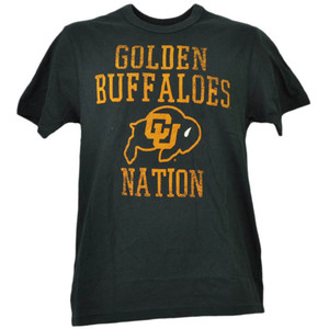 NCAA Colorado Buffaloes Nation Black Short Sleeve Mens Tshirt Tee Crew Neck