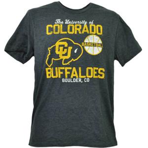 NCAA Colorado Buffaloes Basketball Short Sleeve Gray Mens Tshirt Tee Boulder CO