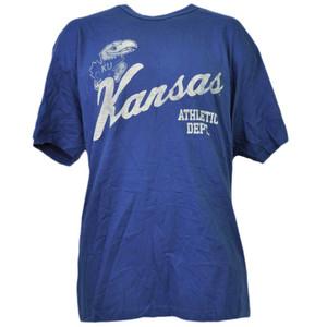 NCAA Kansas Jayhawks Crew Neck Short Sleeve Blue Cotton Mens Adult Sports KU