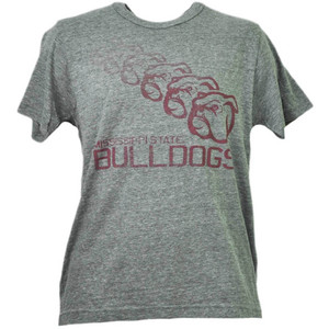 NCAA Mississippi State Bulldogs Repeat Logo Gray Tshirt Tee Mens Short Sleeve