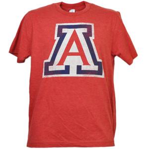 NCAA Arizona Wildcats Distressed Logo Red Tshirt Tee Mens Adult Crew Neck Sports