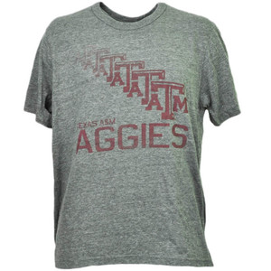 NCAA Texas Tech A&M Aggies Repeat Logo Gray Tshirt Tee Mens Short Sleeve Sports