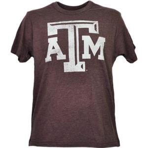NCAA Texas Tech A&M Aggies Distressed Logo Burgundy Mens Tshirt Tee Sports Adult