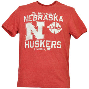 NCAA Nebraska Cornhuskers Basketball Tshirt Tee Red Short Sleeve Mens Lincoln Ne