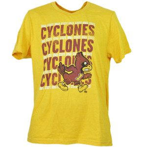 NCAA Iowa State Cyclones Repeat Logo Yellow Tshirt Tee Mens Adult Crew Neck Sport