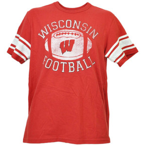 NCAA Wisconsin Badgers Football Striped Sleeve Red Tshirt Tee Mens Adult Sport