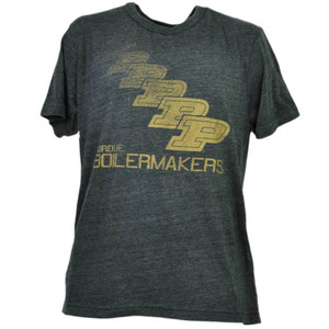 NCAA Purdue Boilermakers Repeat Logo Tshirt Tee Mens Short Sleeve Crew Neck Gray