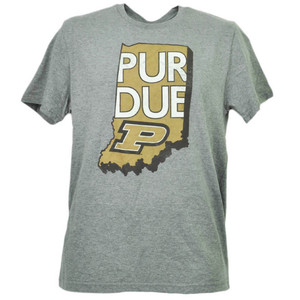 NCAA Purdue Boilermakers State Map Logo Mens Tshirt Tee Adult Short Sleeve Gray