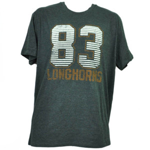NCAA Texas Longhorns Felt 83 Gray Tshirt Tee Mens Adult Short Sleeve Crew Neck