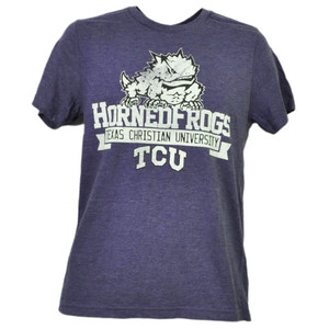 NCAA TCU Texas Christian Horned Frogs Distressed Logo Tshirt Tee Mens Sports
