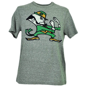 NCAA Notre Dame Fighting Irish Felt Logo Tshirt Tee Mens Adult Short Sleeve Gry