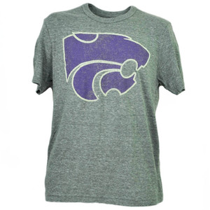 NCAA Kansas State Wildcats Felt Tshirt Tee Mens Short Sleeve Gray Sports Adult