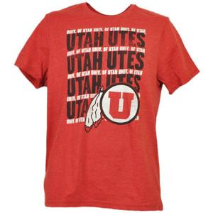 NCAA Utah Utes Repeat Logo Red Mens Tshirt Tee Adult Short Sleeve Crew Neck