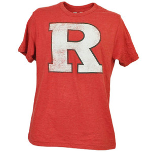 NCAA Rutgers Scarlet Knights Reds Mens Adult Short Sleeve Distressed Logo Sports