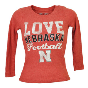 NCAA Nebraska Cornhuskers Love Football Kids Pullover Tshirt Long Sleeve Red