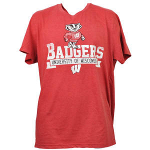 NCAA Wisconsin Badgers Red Short Sleeve Mens Adults Tshirt Tee Distressed Sports