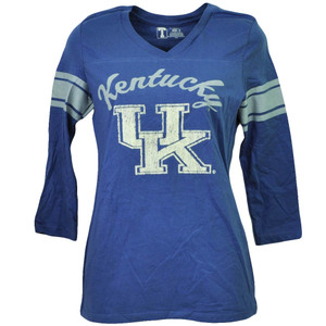 NCAA Kentucky Wildcats Felt Logo Small Mid Sleeve Blue Womens Tshirt V Neck