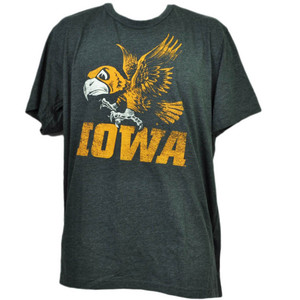 NCAA Iowa Hawkeyes Distressed Logo XLarge Tshirt Tee Gray Crew Neck Mens Adult