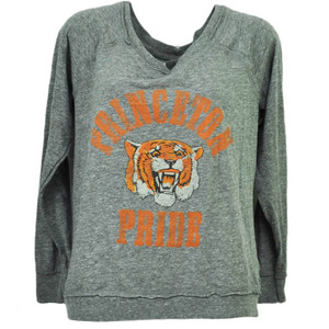 NCAA Princeton Tigers Long Sleeve Large Womens Loose Fit Tshirt Gray Sports