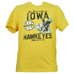 NCAA Iowa Hawkeyes Basketball Yellow Small Tshirt Tee Mens Short Sleeve Sports