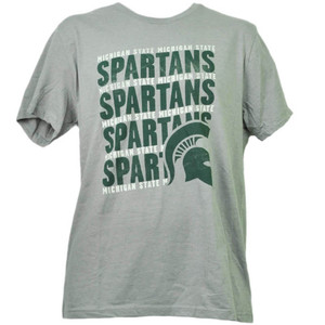 NCAA Michigan State Spartans Large Repeat Logo Gray Mens Tshirt Tee Sports