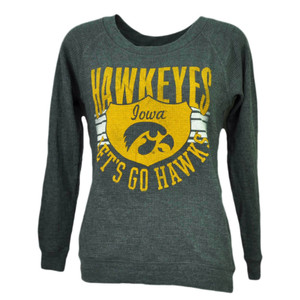 NCAA Iowa Hawkeyes Lets Go Hawks Thermal Long Sleeve Womens XSmall Tshirt Tee