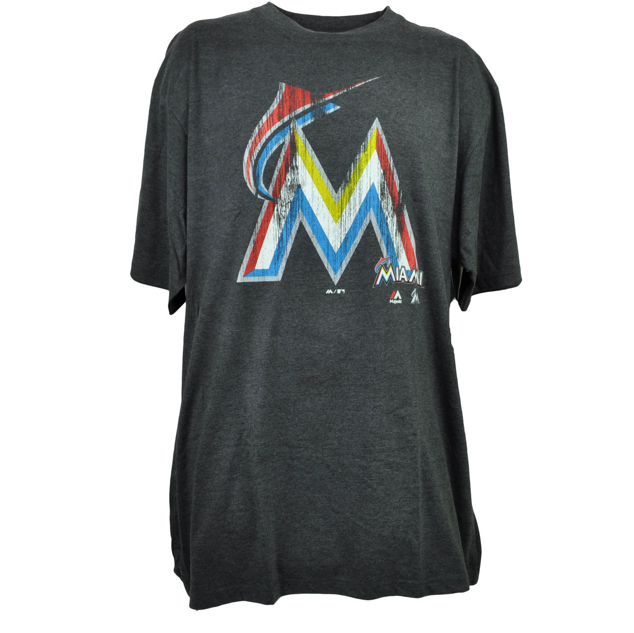 85f7e72ff0f MLB Majestic Miami Marlins Gray Mens Adult Tshirt Tee Big Tall ...