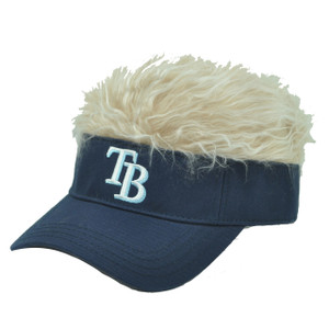 MLB Tampa Bay Rays Creed Flair Navy Beige Hair Visor Faux Fur Velcro Hat Cap