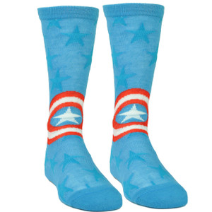 Marvel Captain America Blue Long Socks Size 6-12 Super Hero Comic Book Stars