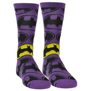 Batman Long Sock Size 6-12 Super Hero DC Comic Book Cartoon Purple Black Movie