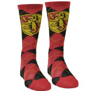 Harry Potter Gryffindor House Argyle Long Socks Size 6-12 Movie Black Red Magic