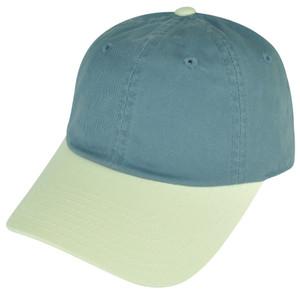 American Needle Blank Two Toned Blue Beige Plain Sun Buckle Curved Bill Hat Cap