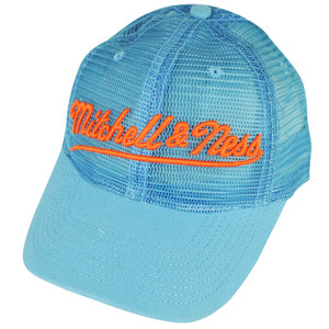Mitchell & Ness Embroidered Logo All Over Mesh Blue Curved Bill Snapback Hat Cap
