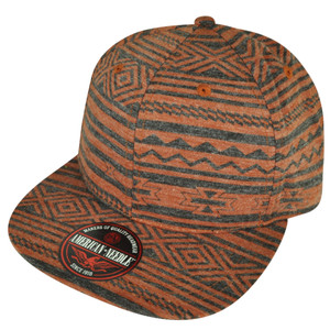 American Needle Blank Black Aztec Pattern Faded Orange Sun Buckle Flat Hat Cap