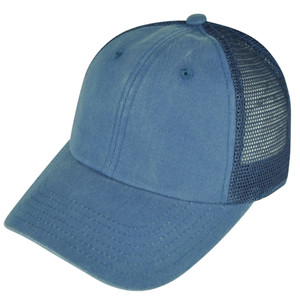 American Needle Blank Faded Light Blue Mesh Back Plain Sun Buckle Curved Hat Cap