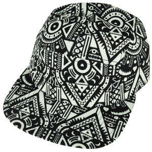 American Needle Blank Aztec Pattern Blank White Flat Bill Snap Buckle Hat Cap