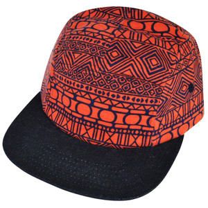 American Needle Blank Aztec Pattern Bright Orange Flat Bill Snap Buckle Hat Cap