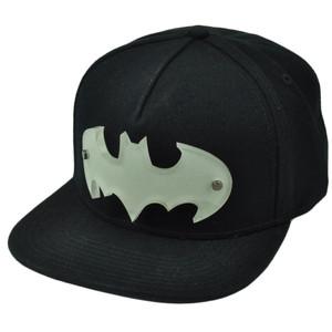 Batman Solid Black Snapback Flat Bill Hat Cap DC Comics Acrylic Badger Hero