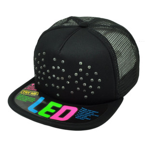 Batman 3 Modes LED Neon Light Mesh Snapback Flat Bill Black Hat Cap Cartoon Hero