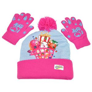 ABG Shopkins Sublimated Girls Kids 2 Piece Set Beanie Knit Toque Gloves One Size