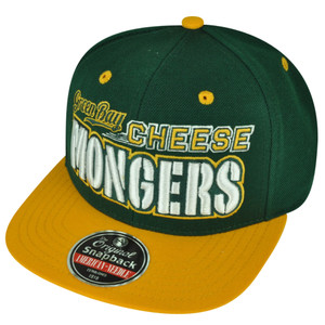 American Needle Green Bay  Cheese Mongers Flat Bill Snapback Hat Cap City Town