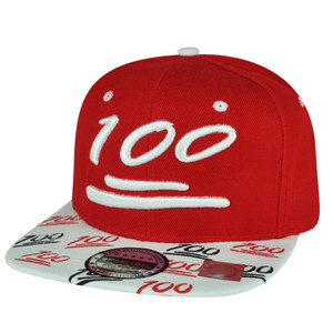 100 One Hundred Snapback Hat Cap Emoji Text Symbol Emoticons Red Adjustable