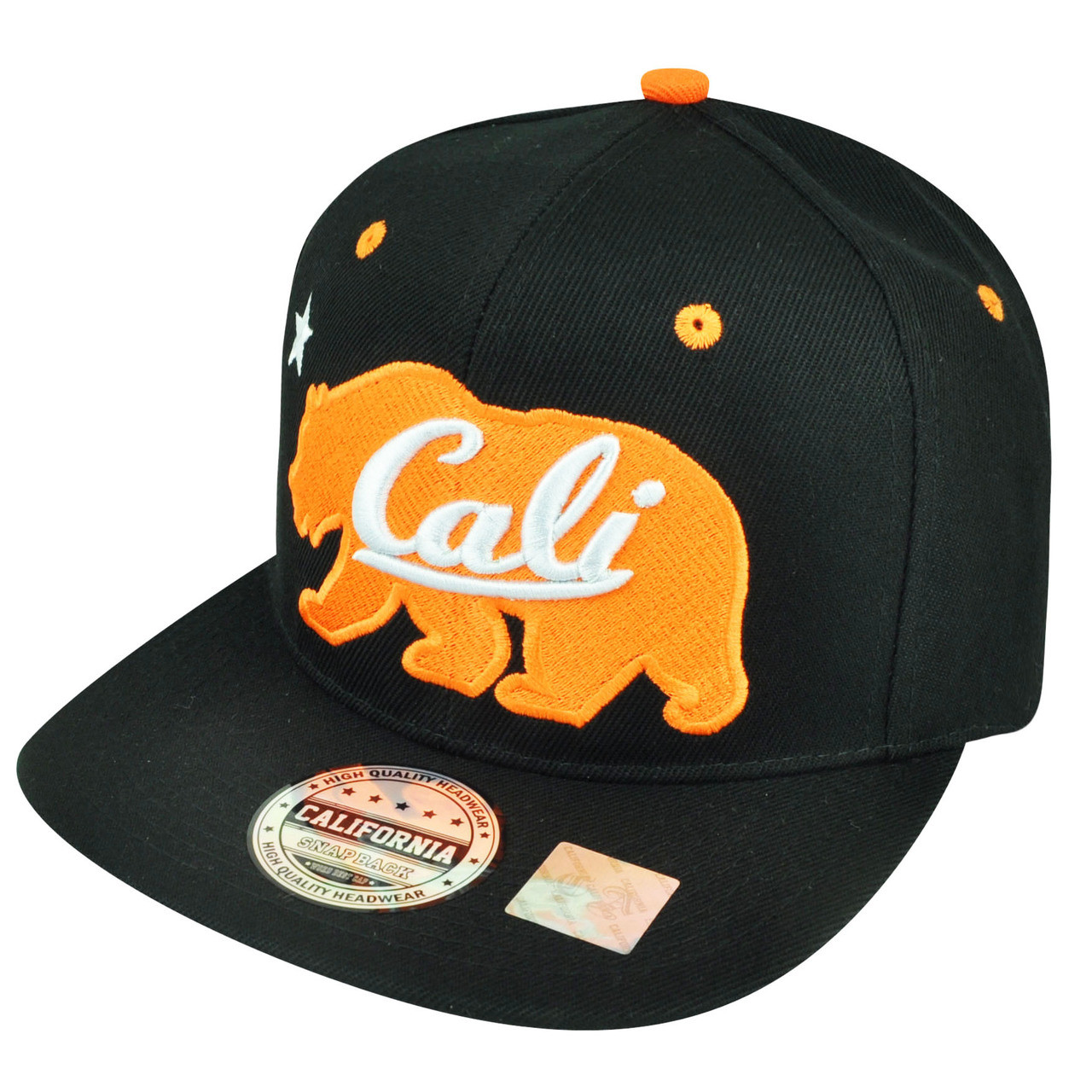 6bd4c159686 California Republic Cali Orange Bear Logo Solid Black Snapback Flat Bill  Hat Cap. Your Price   24.95 (You save  3.05). Image 1