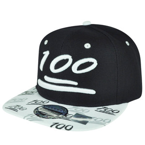 100 One Hundred Snapback Hat Cap Emoji Text Symbol Emoticons Black Adjustable