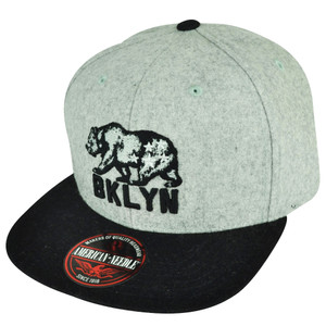 American Needle Brooklyn Flat Bill Strap Back Hat Cap Grey Black Bear City BKLYN