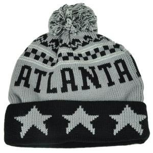 Atlanta Pom Pom Cuffed Three Stars Gray Black City State Town Beanie Knit Georgia