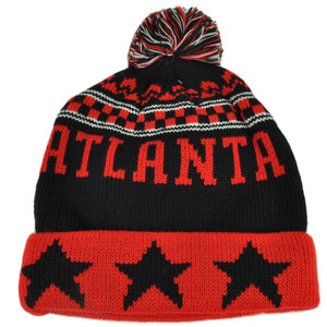 Atlanta Pom Pom Cuffed Three Stars Red Black City State Town Beanie Knit Georgia