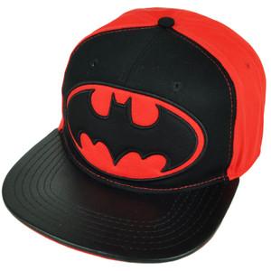 Batman Dark Knight Snapback Red Black Hat Super Hero Cartoon DC Comics Flat Bill